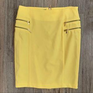 INC. International Yellow Zip Up pencil skirt